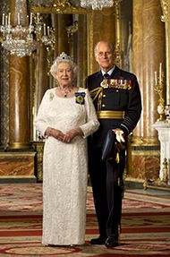 Official Image of HM The Queen  &  HRH The Duke of Edinburgh in Australian Orders - D5/AUS/JC